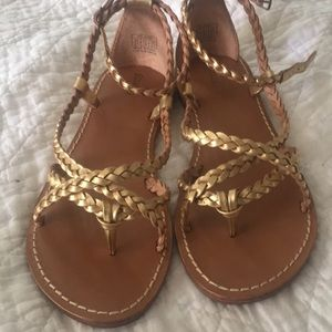 Soludos gold leather braided gladiator sandals 8.5